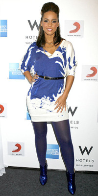 alicia keyes blue painted dress