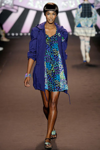Anna Sui Spring rtw 2010 Blue Print Mini with Jacket