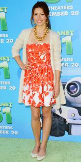 Jessica Biel Orange Floral Dress