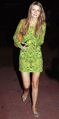mischa barton peacock print dress