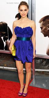 Natalie Portman blue strapless