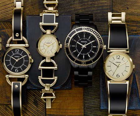 fossil black and gold